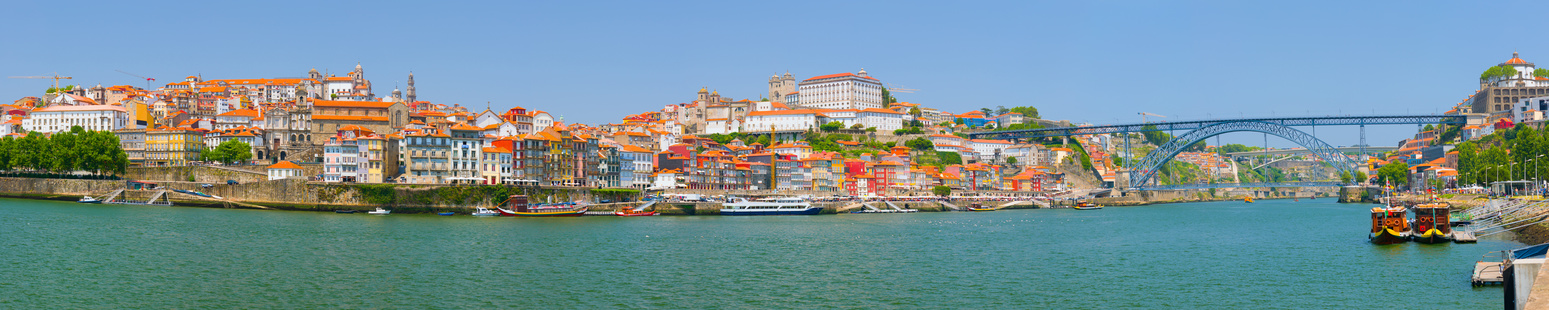 Panorama of Porto and the Douro river in a sunny summer day